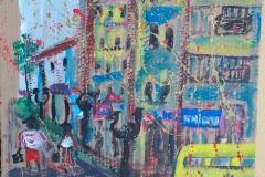 -centro storico-acrilico su cartone cm.45X61 anno 2012