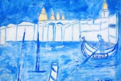 venezia in gondola cm 79X60 anno 2016 acrilico e tinte su stoffa