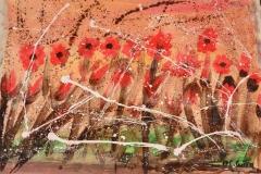 l'alba floreale - acrilici su stoffa cm 65x94 anno 2017