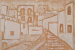 matera centro storico - acrilici su stoffa cm 50x70 anno 2017