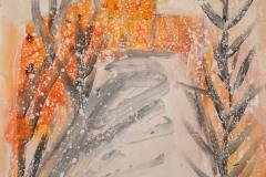 matera sotto la neve - (municipio) acrilici su stoffa cm50x70 anno 2017